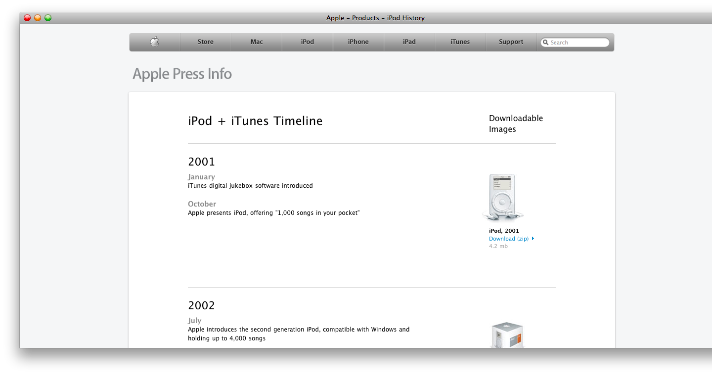 apple posts ipod itunes timeline page