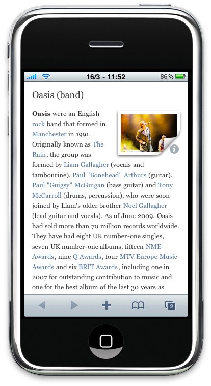 Articles Wikipedia iPhone App