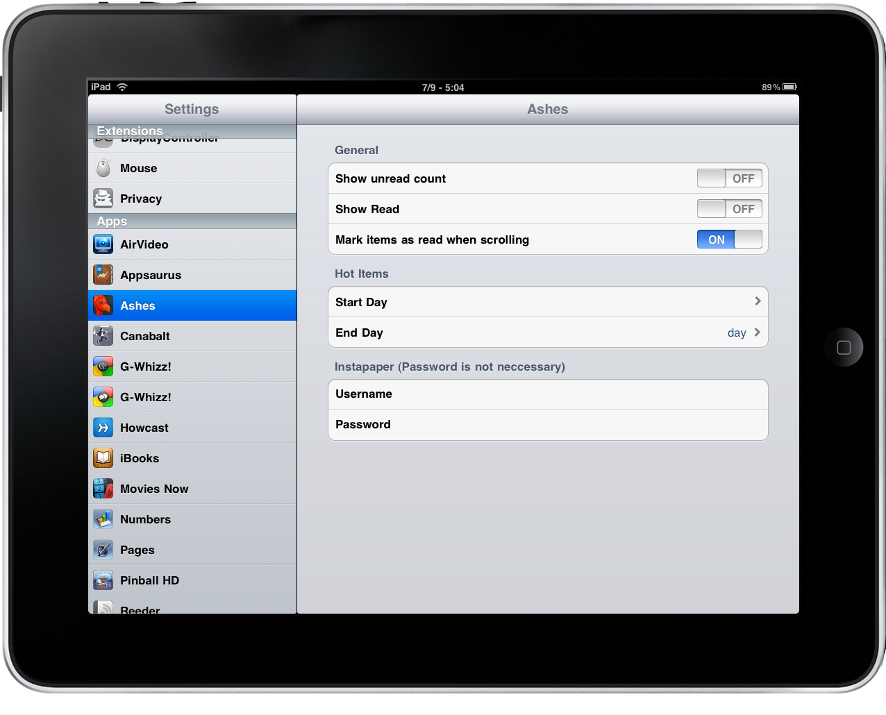 Ashes for iPad - Settings